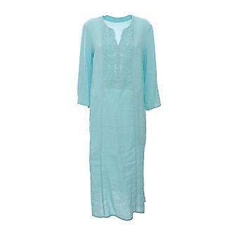 120% N0w4748000b317000n030 Women's Green Linen Dress
