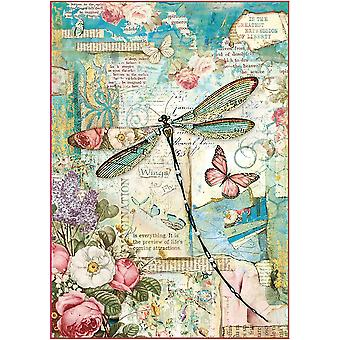 Stamperia Rice Paper Sheet A4-Wonderland Dragonfly