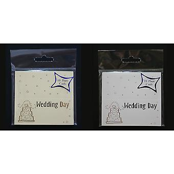 Wedding Day Foil Cake Print Placecards (Pack Of 10)
