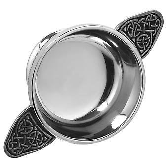 Celtic Knot Handle Pewter Quaich with Celtic Knot Band - 2.5""