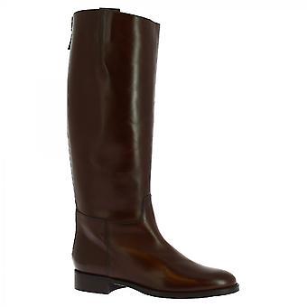 Leonardo Sko Dame's håndlaget elegante knehøye støvler mørk brun kalv skinn