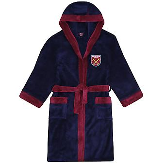 West Ham United Boys Dressing Gown Robe Hooded Fleece Kids OFFICIAL Football