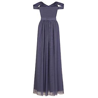 Little Mistress Womens/Ladies Lavender Grey Jewel Waist Maxi Dress