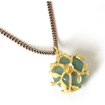 "Peace of Mind Goldtone Vine Green Bead Pendant on 28"" Bronzetone Chain"