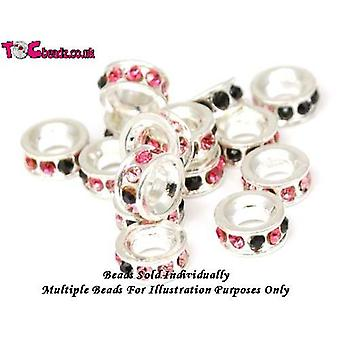 TOC BEADZ Pink & Black Crystal Set 3mm Funky Bead