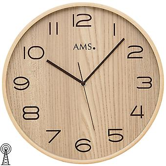 AMS 5514 Wall clock radio radio wall clock analog wood natural brown