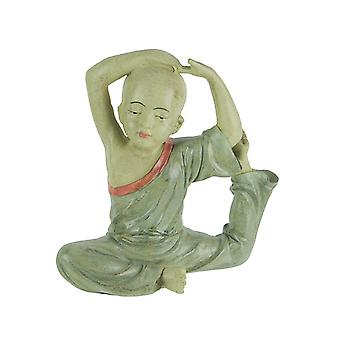 Stunning Aged Finish Child Monk Yoga Pigeon Pose Statue 8 Inches High