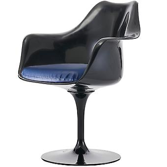 Eero Saarinen Black And Navy PU Tulip Style Armchair