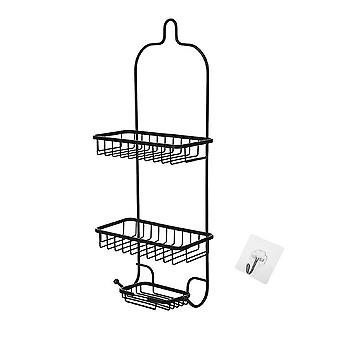 Wall-mounted basket rack, bedroom home storage rack, wrought iron three-layer punch-free