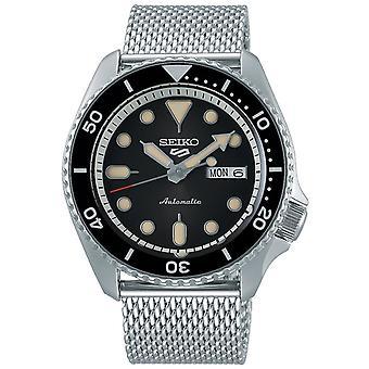 Seiko 5 Sports Black Dial Pulseira de malha de aço prata Automática Men's Watch SRPD73K1