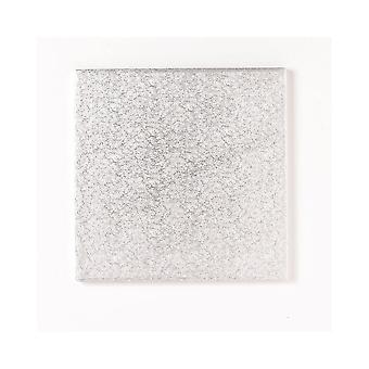 """Culpitt 4"""" (101mm) Single Thick Square Turn Edge Cake Cards Silver Fern (1.75mm Thick)"""