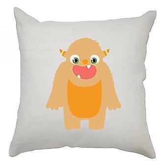 Monster Cushion Cover 40cm x 40cm - Orange Monster With Horns