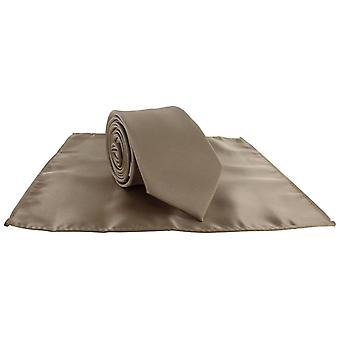 Michelsons of London Silm Satin Polyester Pocket Square and Tie Set - Taupe