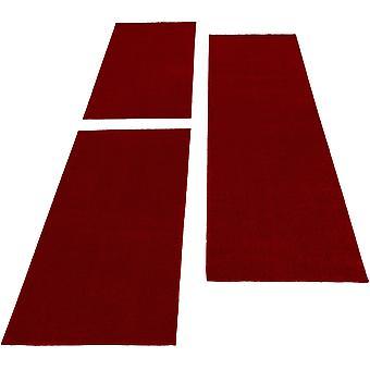 Borde de la cama Rug Color sólido flor corta Rug Runner Set Rojo