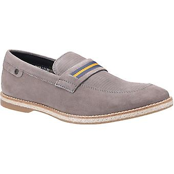 Basis Londen Mens Kinsey Suede Slip Op Loafer Grey