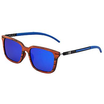 Earth Wood Doumia Polarized Sunglasses - Red Rosewood/Blue