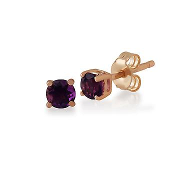 Classic Round Amethyst Claw Set Stud Earrings in 9ct Rose Gold 183E4316059