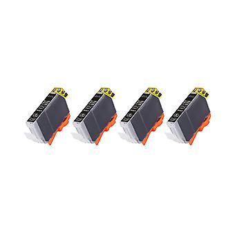 RudyTwos 4 x produit compatible pour Canon CLI-8BK encre unité noire Compatible avec Pixma iP4200, iP4300, iP4500, iP5200, iP5200R, iP5300, iP6600D, iP6700D, MP500, MP530, MP600, MP600R, MP610, MP800, MP800R, MP8