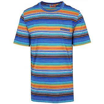 MISSONI Blue Multi-Coloured Striped T-Shirt