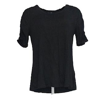 H by Halston Women's Top Elbow Sleeve Top w/ Ruching Detail Black A306899