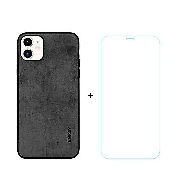 For iPhone 11 Case Fabric Texture Black Cover & Tempered Glass Screen Protector