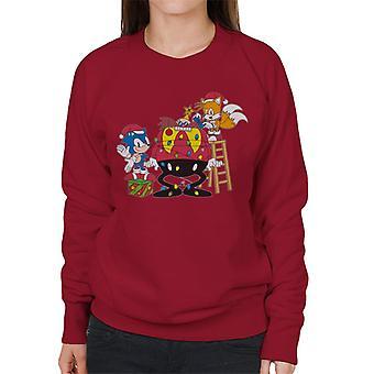 Sonic The Hedgehog Christmas Eggman Tree Women's Sweatshirt