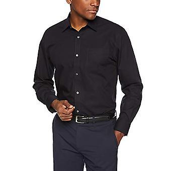 "Essentials Heren's Regular-Fit Wrinkle-Resistant Long-Sleeve Solid Dress Shirt, Zwart, 18.5"" Hals 34&-35"" Mouw"