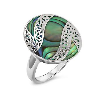 ADEN 925 Sterling Silver Abalone Mother-of-pearl Oval Shape Ring (id 4220)
