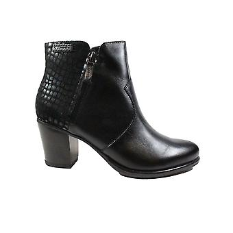 Tamaris 25338 Black Leather/Textile Womens Heeled Ankle Boots