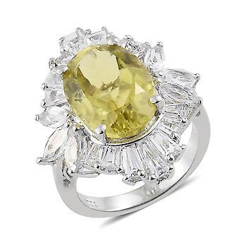 Halo Green Gold Quartz Ring Sterling Zilver Platina Vergulde Witte Topaz TJC