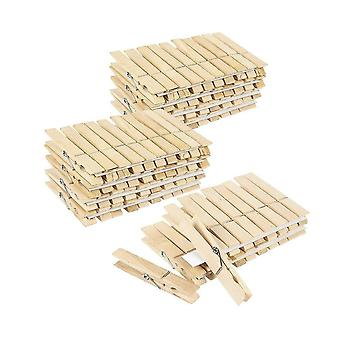 100PCS Wooden Clothespins for Shirts Sheets Wood Color