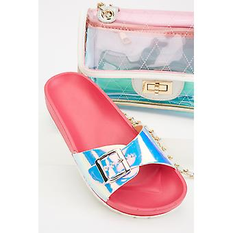 Holographic Buckle Strap Sandals