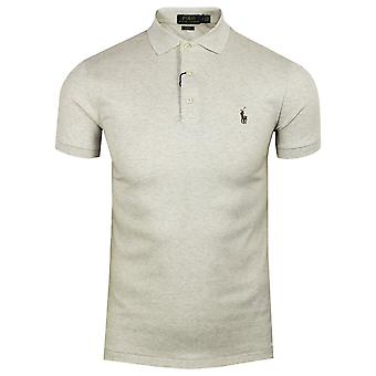 Ralph lauren men's grey heather pima polo shirt