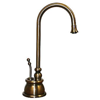"""Point Of Use Instant Hot Water Faucet With Gooseneck Spout And Self Closing Handle - Fits Counter Tops Up To 2 3/8"""", Antique Brass"""