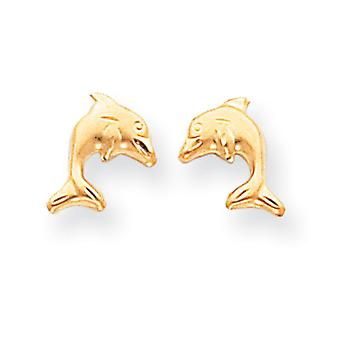 14k Yellow Gold Sparkle Cut Post Earrings Satin Dolphin Earrings Measures 10x9mm Jewelry Gifts for Women
