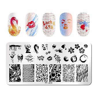 Kvetinový list a geometrická tlač-nail art šablóny
