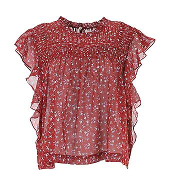 Isabel Marant ÉToile Ht154120a051e80gr Women's Burgundy Cotton Top