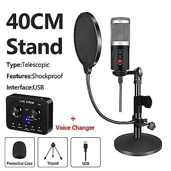 Usb Computer Studio Condenser Microphone With Tripod For Pc Phone With Sound Card