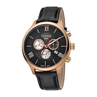 Ferre Milano Men's FM1G144L0031 Rose-Gold IP Steel Chrono Black Leather Watch