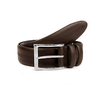 Double Keeper Leather Belt with Stitch Detail