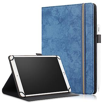 For 9-11 inch Marble Cloth Texture Horizontal Flip Universal Tablet PC Leather Case with Pen Slot & Holder(Dark Blue)