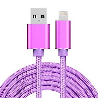 3m 3A Kudottu tyyli Metallipää 8 Nasta USB-tietoihin / laturikaapeliin, iPhone X / iPhone 8 & amp; 8 Plus / iPhone 7 & 7 Plus / iPhone 6 & &6s& &Plussaa 6s Plu