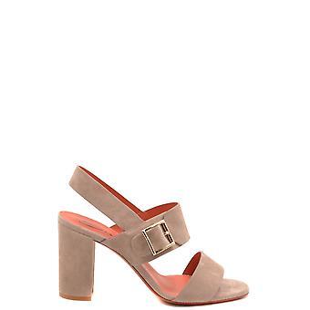 Santoni Ezbc023032 Women's Brown Suede Sandals