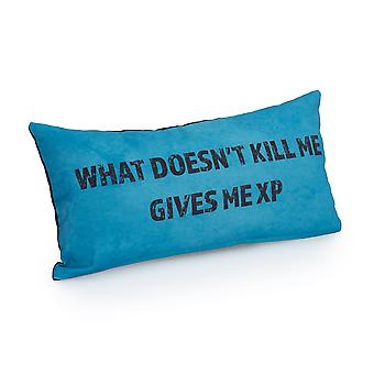 Game Over What Doesn't Kill Me, Gives Me XP Slogan - Turquoise   Gaming Cushion   Foam Crumb Filled   Water Resistant   Bedding and Sofa   Home D�cor