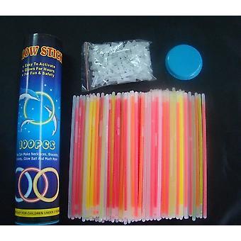 100 Glow Sticks / Armband. 7 Kleurmix. Premium-klasse! Fabriek vers! Felgekleurde lightsticks! 8. Incl. 100 armband / ketting connectoren 1 G