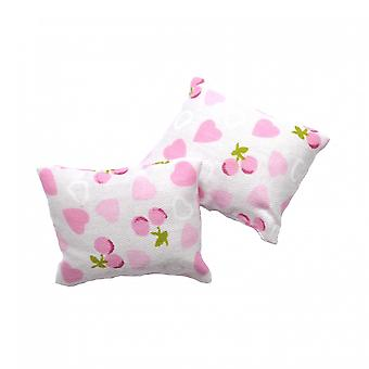 Dolls House Pink Heart Pair Of Scatter Cushions Miniature 1:12 Scale Accessory
