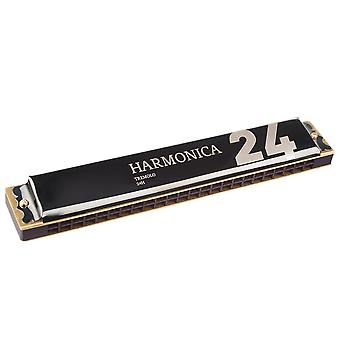24 Holes Professional Tremolo Harmonica Key of C Mouth Organ Musical Instrument