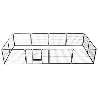 Dog grille 12 panels steel 80x60 cm Black