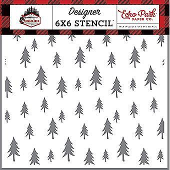 エコーパーク森林樹木6x6インチステンシル