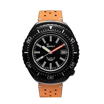Squale 2002.PVD.BK.BK.PTS 1000 Meter Swiss Automatic Dive Wristwatch Leather